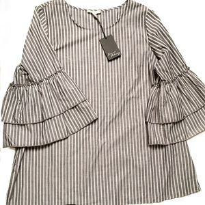 Jane & Delancey NWT striped ruffle bell sleeve top